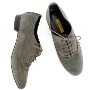 Gray French Suede Derby Oxford Shoes 37 US 6.5